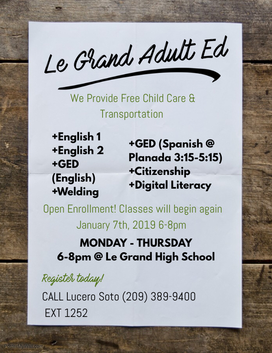 Adult Education info.